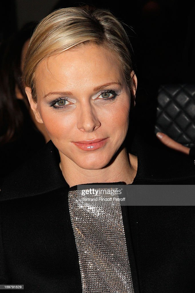 Princess <a gi-track='captionPersonalityLinkClicked' href=/galleries/search?phrase=Charlene+-+Princess+of+Monaco&family=editorial&specificpeople=726115 ng-click='$event.stopPropagation()'>Charlene</a> of Monaco attends the Versace Spring/Summer 2013 Haute-Couture show as part of Paris Fashion Week at Le Centorial on January 20, 2013 in Paris, France.