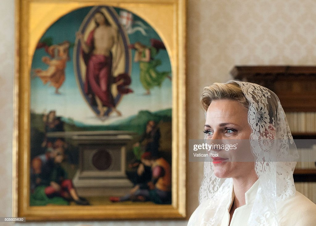 Princess Charlene of Monaco during an audience with Pope Francis at the Apostolic Palace on January 18, 2016 in Vatican City, Vatican.