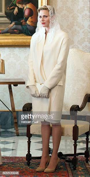 Princess Charlene of Monaco during an audience with Pope Francis at the Apostolic Palace on January 18 2016 in Vatican City Vatican