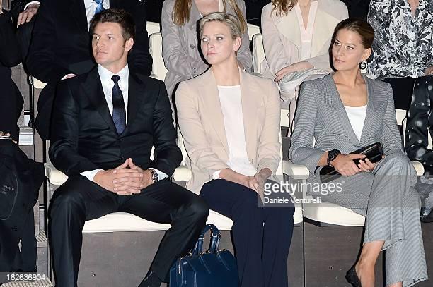 Princess Charlene of Monaco Gareth Wittstock and Tatiana Blatnik attend the Giorgio Armani fashion show during Milan Fashion Week Womenswear...