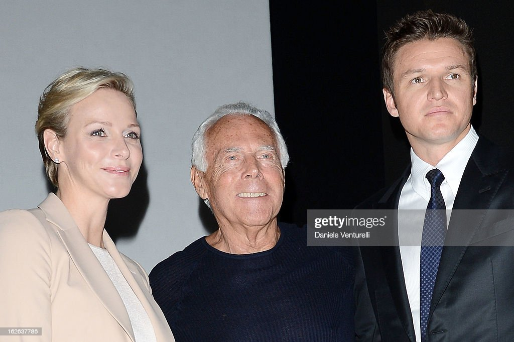 Princess Charlene of Monaco, Giorgio Armani and Gareth Wittstock attend the Giorgio Armani fashion show during Milan Fashion Week Womenswear Fall/Winter 2013/14 on February 25, 2013 in Milan, Italy.