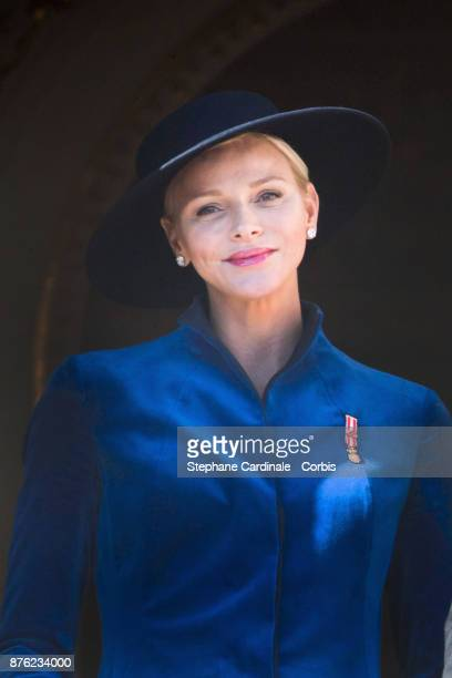 Princess Charlene of Monaco greet the crowd from the Palace's balcony during the Monaco National Day Celebrations on November 19 2017 in Monaco Monaco