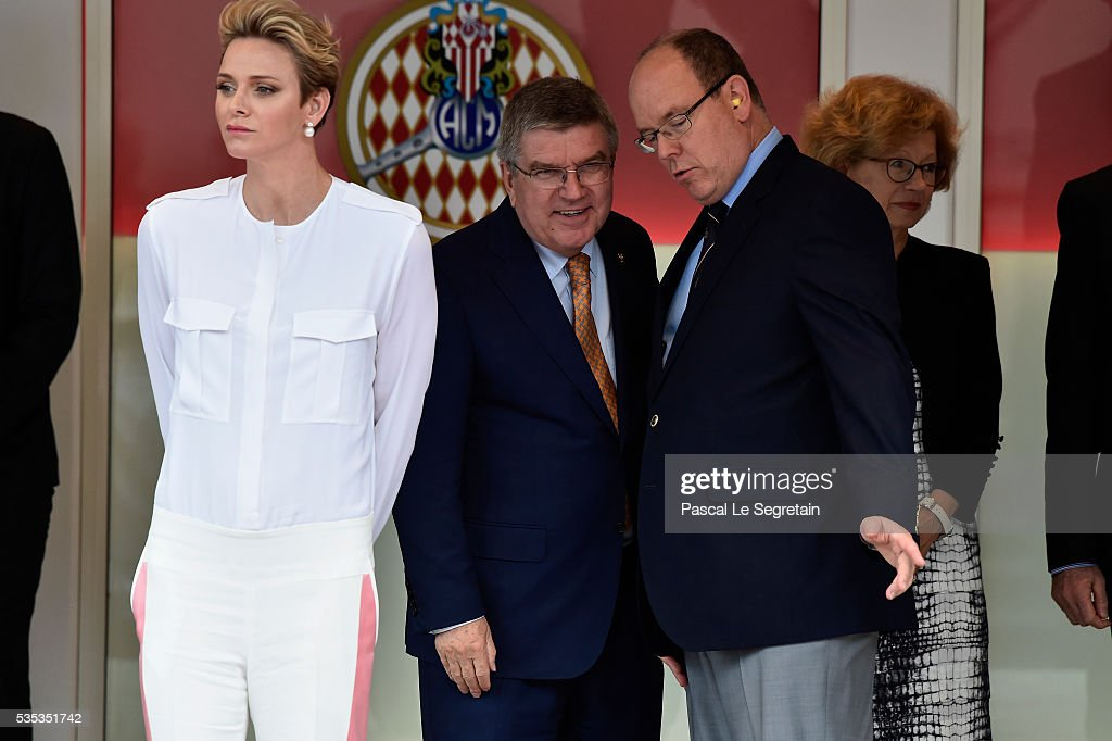 Princess Charlene of Monaco, IOC President <a gi-track='captionPersonalityLinkClicked' href=/galleries/search?phrase=Thomas+Bach&family=editorial&specificpeople=610149 ng-click='$event.stopPropagation()'>Thomas Bach</a> and Prince Albert II of Monaco attend the F1 Grand Prix of Monaco on May 29, 2016 in Monte-Carlo, Monaco on May 29, 2016 in Monte-Carlo, Monaco.