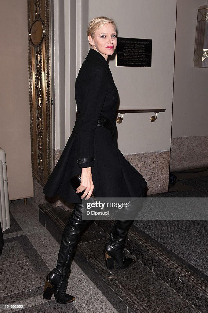 Princess Charlene of Monaco is seen arriving at The Waldorf Towers on October 24, 2012 in New York City.