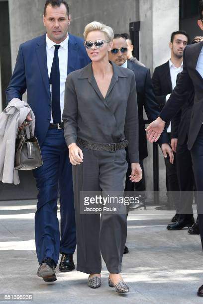 Princess Charlene of Monaco is seen leaving the Giorgio Armani show during Milan Fashion Week Spring/Summer 2018 on September 22 2017 in Milan Italy