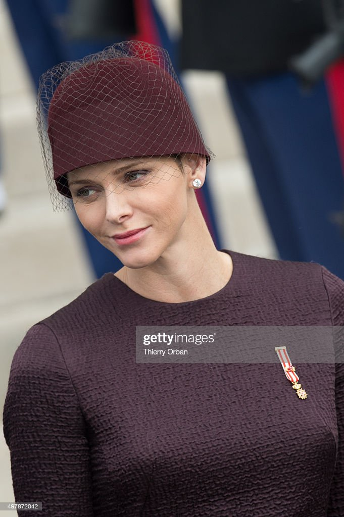 Princess Charlene of Monaco leaves the Cathedral after a mass for Monaco National day on November 19, 2015 in Monaco, Monaco.