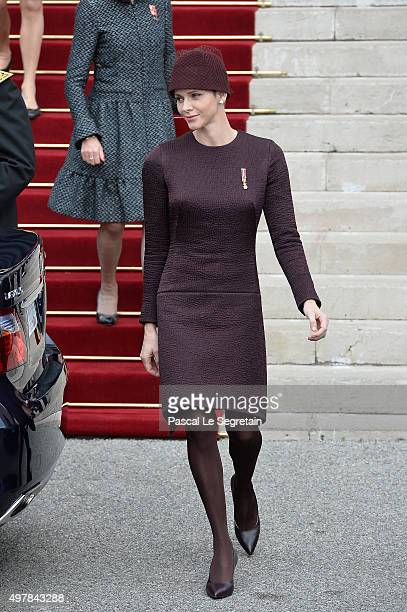 Princess Charlene Of Monaco leaves the Cathedral of Monaco after a mass during the official ceremonies for the Monaco National Day Celebrations on...