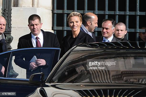 Princess Charlene Of Monaco leaves the Louis Vuitton show as part of the Paris Fashion Week Womenswear Fall/Winter 20142015 on March 5 2014 in Paris...