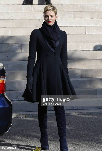 Princess Charlene of Monaco leaves the Monaco Cathedral during the SainteDevote festivities on January 27 2016 in Monaco Saint Devote is the patron...
