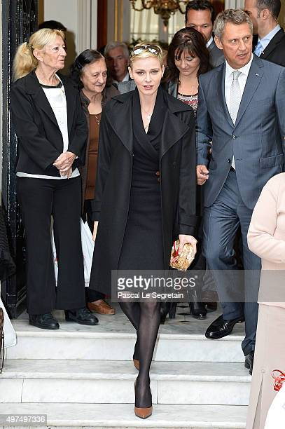 Princess Charlene of Monaco leaves the Monaco Red Cross headquarters on November 17 2015 in Monaco Monaco