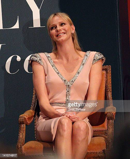 Princess Charlene of Monaco listens during the opening of the Grace Kelly exhibition at Bendigo Museum on March 10 2012 in Bendigo Australia The late...