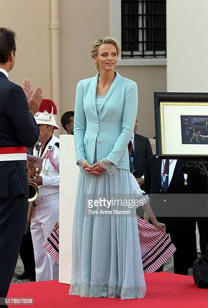 Princess Charlene of Monaco looks on after the civil ceremony of the Royal Wedding of Prince Albert II of Monaco to Charlene Wittstock at the...