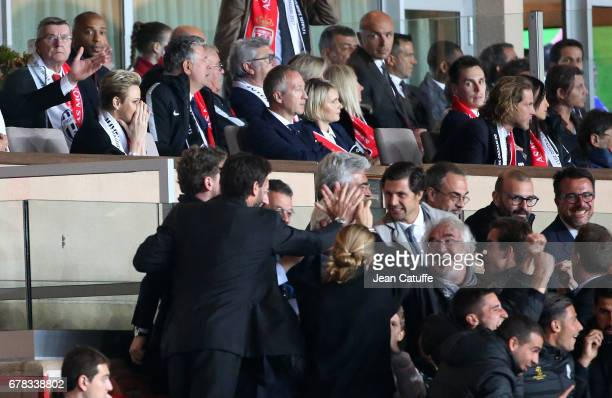 Princess Charlene of Monaco Louis Ducruet and Andrea Casiraghi react after the second goal of Juventus while Juventus clan with President of Juventus...