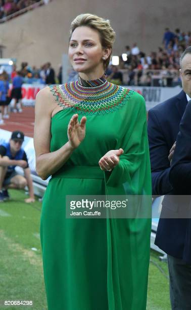 Princess Charlene of Monaco participates at the medals ceremony during the IAAF Diamond League Meeting Herculis 2017 on July 21 2017 in Monaco Monaco