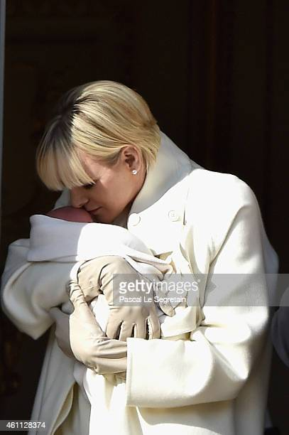 Princess Charlene of Monaco poses with Princess Gabriella on the balcony of the Monaco Palace on January 7 2015 in Monaco Monaco