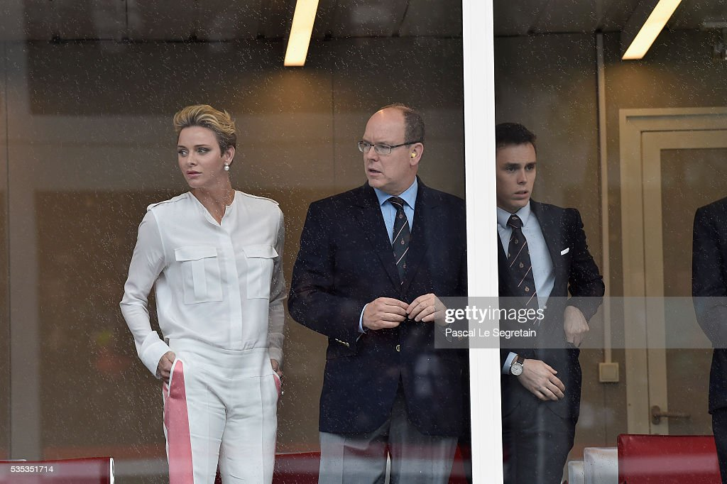 Princess Charlene of Monaco, Prince Albert II of Monaco and <a gi-track='captionPersonalityLinkClicked' href=/galleries/search?phrase=Louis+Ducruet&family=editorial&specificpeople=2313830 ng-click='$event.stopPropagation()'>Louis Ducruet</a> attend the F1 Grand Prix of Monaco on May 29, 2016 in Monte-Carlo, Monaco on May 29, 2016 in Monte-Carlo, Monaco.