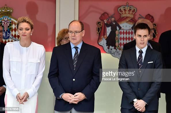 Princess Charlene of Monaco Prince Albert II of Monaco and Louis Ducruet attend the F1 Grand Prix of Monaco on May 29 2016 in MonteCarlo Monaco