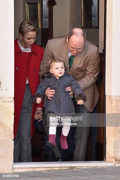 Princess Charlene Of Monaco Prince Albert II of Monaco and Princess Gabriella of Monaco attend the annual Christmas gifts distribution at Monaco...
