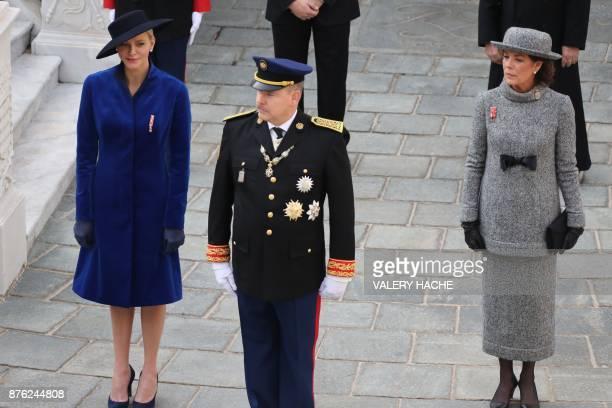 Princess Charlene of Monaco Prince Albert II of Monaco and Princess Caroline of Hanover attend the Monaco National Day celebrations at the Monaco...