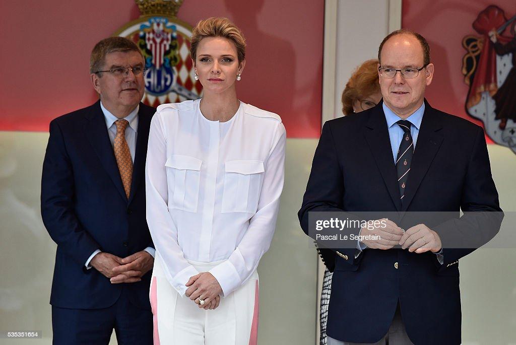 Princess Charlene of Monaco, Prince Albert II of Monaco attend the F1 Grand Prix of Monaco on May 29, 2016 in Monte-Carlo, Monaco on May 29, 2016 in Monte-Carlo, Monaco.