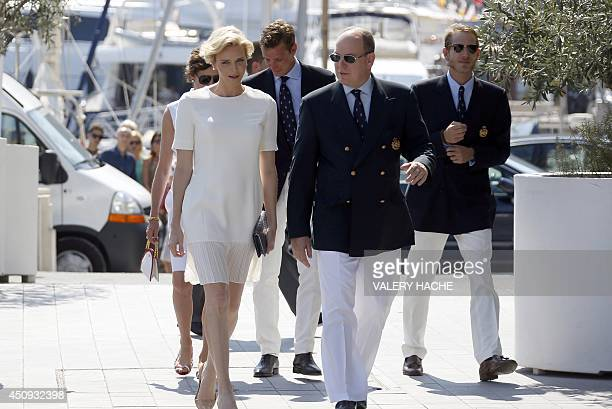 Princess Charlene of Monaco Prince Albert II of Monaco Princess Caroline of Hanover Pierre Casiraghi and Andreas Casiraghi arrive for the...