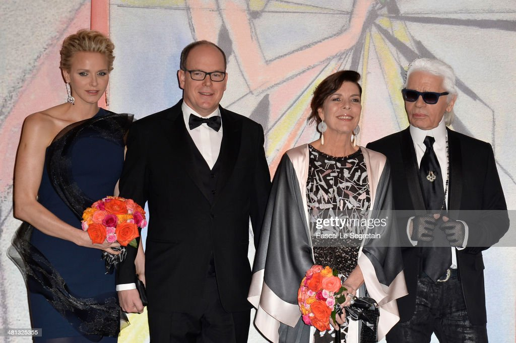 Princess Charlene of Monaco Prince Albert II of Monaco Princess Caroline of Hanover and Karl Lagerfeld attend the Rose Ball 2014 in aid of the...