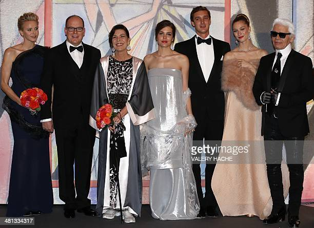 Princess Charlene of Monaco Prince Albert II of Monaco Princess Caroline of Hanover Charlotte Casiraghi Pierre Casiraghi and his girlfriend Beatrice...
