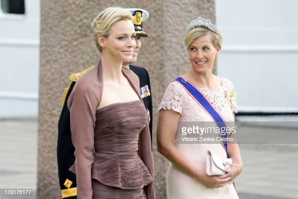 Princess Charlene of Monaco Prince Edward Earl of Wessex and Sophie Countess of Wessex depart fort a travel by boat to Drottningholm Palace for...