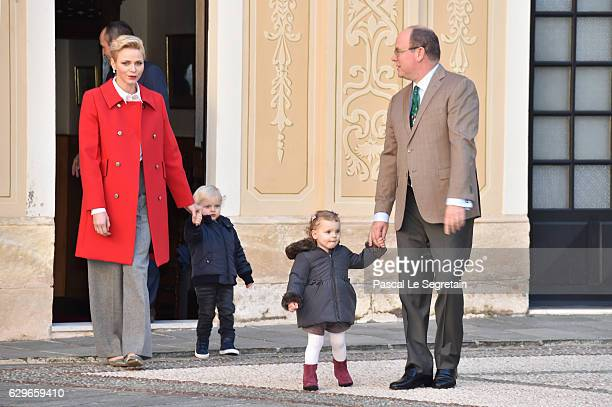 Princess Charlene Of Monaco Prince Jacques of Monaco Princess Gabriella of Monaco and Prince Albert II of Monaco attend the annual Christmas gifts...