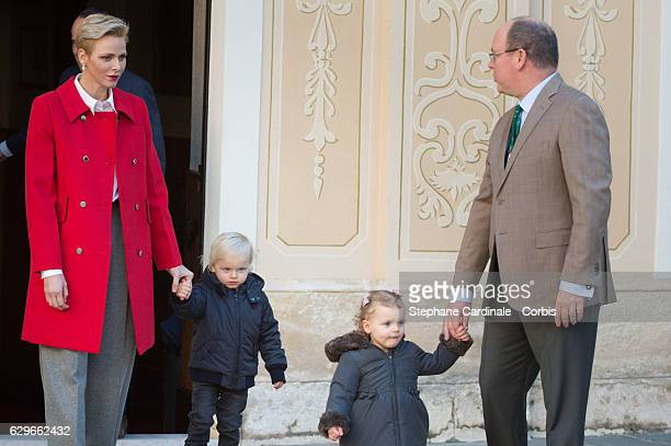 Princess Charlene of Monaco Prince Jacques of Monaco Princess Gabriella of Monaco and Prince Albert II of Monaco attend the Christmas gifts...
