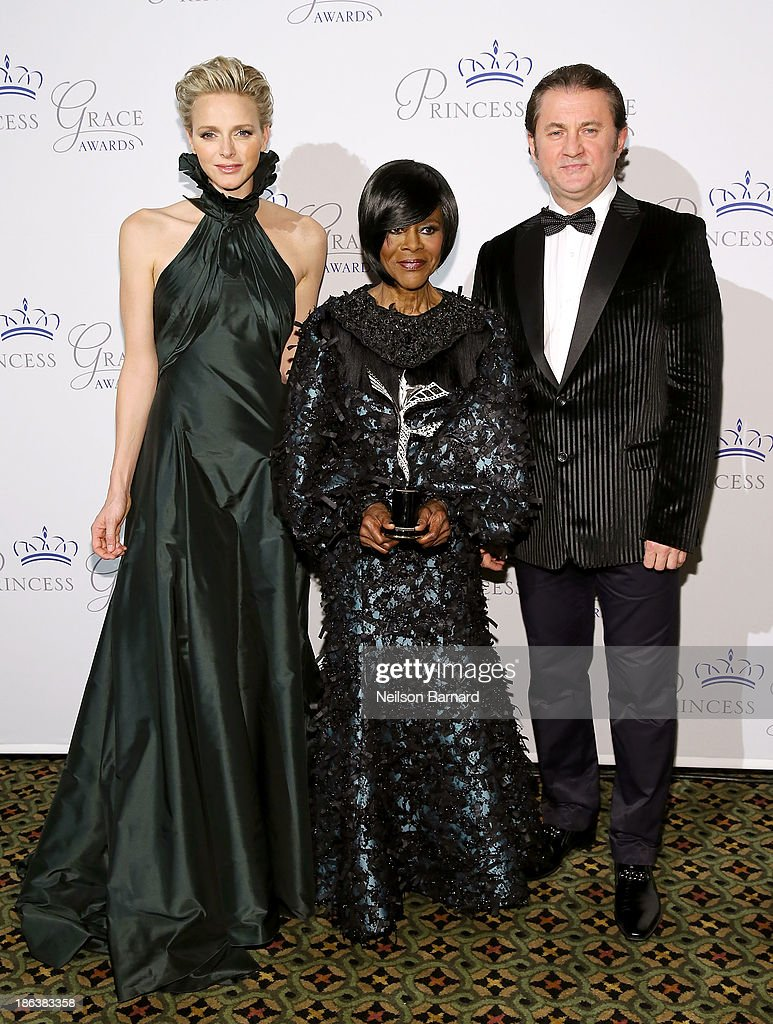 HSH Princess Charlene of Monaco, Prince Rainier III Award Recipient <a gi-track='captionPersonalityLinkClicked' href=/galleries/search?phrase=Cicely+Tyson&family=editorial&specificpeople=211450 ng-click='$event.stopPropagation()'>Cicely Tyson</a> and Alex Soldier attend the 2013 Princess Grace Awards Gala at Cipriani 42nd Street on October 30, 2013 in New York City.
