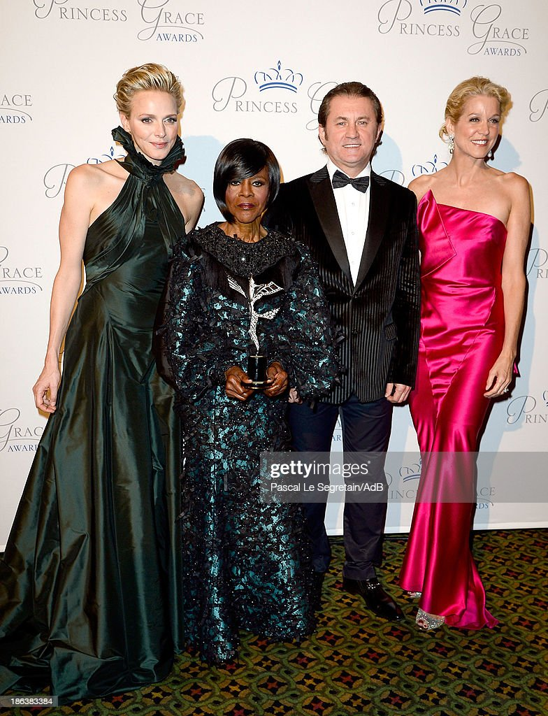 HSH Princess Charlene of Monaco, Prince Rainier III Award Recipient <a gi-track='captionPersonalityLinkClicked' href=/galleries/search?phrase=Cicely+Tyson&family=editorial&specificpeople=211450 ng-click='$event.stopPropagation()'>Cicely Tyson</a>, Alex Soldier and <a gi-track='captionPersonalityLinkClicked' href=/galleries/search?phrase=Paula+Zahn&family=editorial&specificpeople=206450 ng-click='$event.stopPropagation()'>Paula Zahn</a> attend the 2013 Princess Grace Awards Gala at Cipriani 42nd Street on October 30, 2013 in New York City.