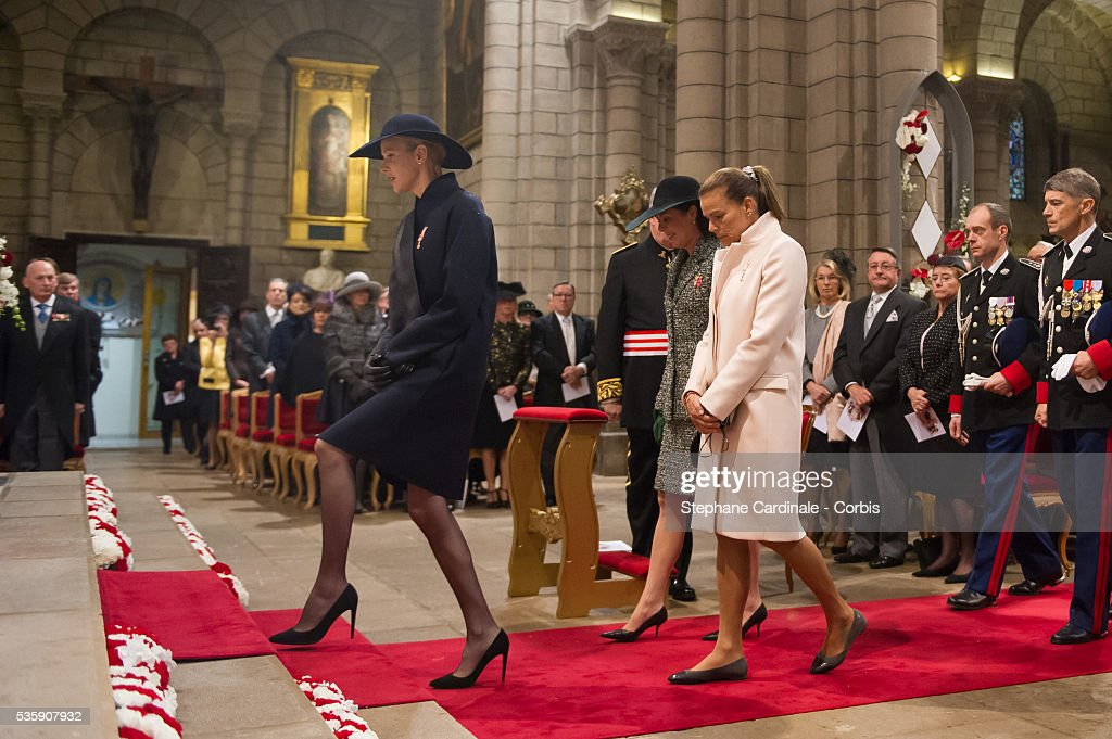 Princess Charlene of Monaco, Princess Caroline of Hanover and Princess Stephanie of Monaco arrive at the Celebration of Mass at Cathedral Notre Dame Immaculee during the Celebrations of Monaco National Day, in Monaco.
