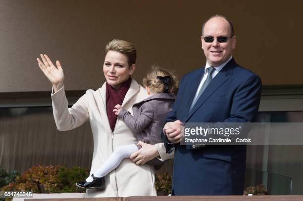 Princess Charlene of Monaco Princess Gabriella of Monaco and Prince Albert II of Monaco attend the Sainte Devote Rugby Tournament on March 18 2017 in...