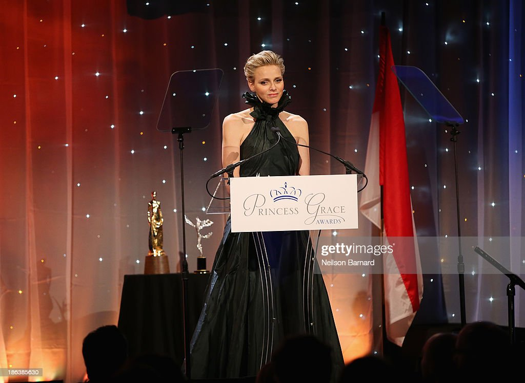 Princess Charlene of Monaco speaks onstage at the 2013 Princess Grace Awards Gala at Cipriani 42nd Street on October 30, 2013 in New York City.