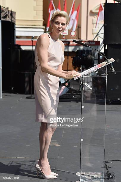 Princess Charlene of Monaco speaks onstage during the First Day of the 10th Anniversary on the Throne Celebrations on July 11 2015 in Monaco Monaco