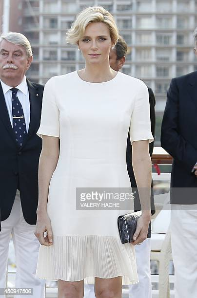 Princess Charlene of Monaco takes part in the inauguration of the new Yacht Club of Monaco on June 20 2014 in Monaco AFP PHOTO / VALERY HACHE