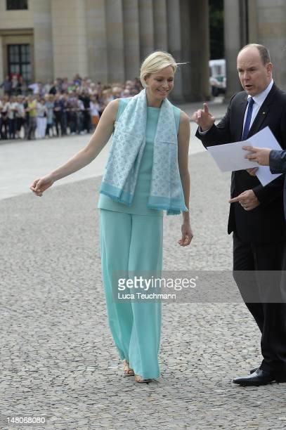 Princess Charlene of Monaco visits the Brandenburg Gate on July 9 2012 in Berlin Germany