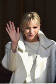 Princess Charlene of Monaco waves to the crowd during the official presentation of the Monaco twins on January 7 2015 in Monaco Monaco