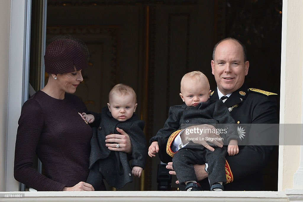 Princess Charlene of Monaco with Princess Gabriela and Prince Albert II of Monaco with Prince Jacques greet the crowd from the palace's balcony during the Monaco National Day Celebrations on November 19, 2015 in Monaco, Monaco.
