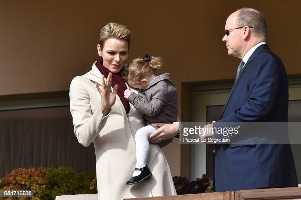 Princess Charlene of Monaco with Princess Gabriella of Monaco and Prince Albert II of Monaco greet the crowd prior the Sainte Devote Rugby Tournament...