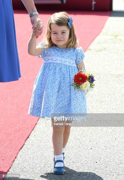 Princess Charlotte arrives at Berlin's Tegel Airport during an official visit to Poland and Germany on July 19 2017 in Berlin Germany