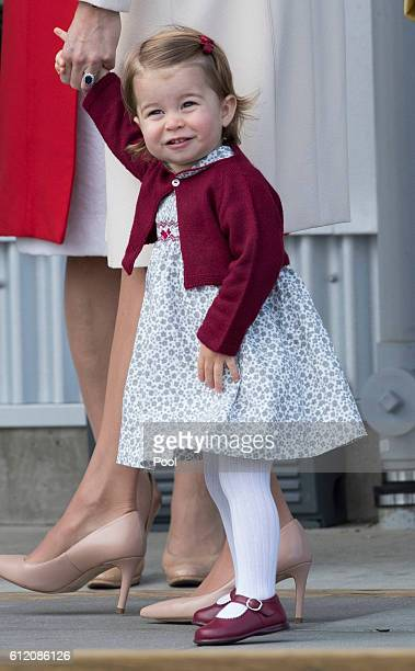 Princess Charlotte leaves from Victoria Harbour to board a seaplane on the final day of their Royal Tour of Canada on October 1 2016 in Victoria...