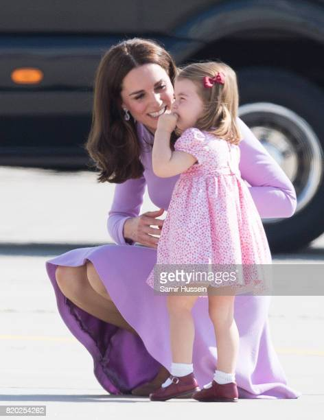 Princess Charlotte of Cambridge and Catherine Duchess of Cambridge depart from Hamburg airport on the last day of their official visit to Poland and...