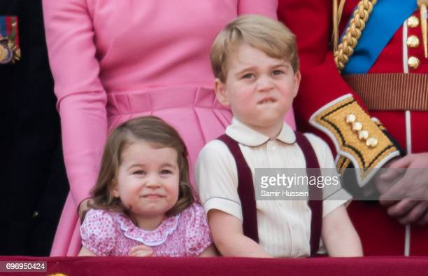 Princess Charlotte of Cambridge and Prince George of Cambridge look on from the balcony during the annual Trooping The Colour parade on June 17 2017...