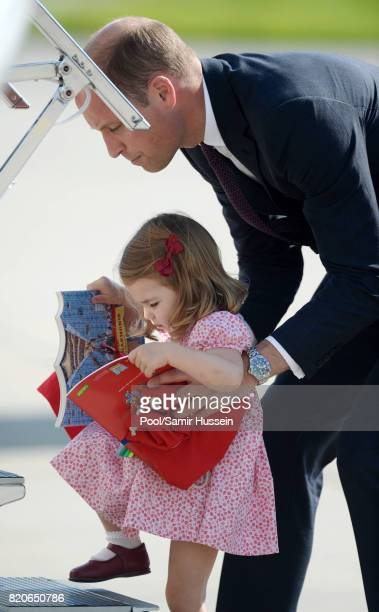 Princess Charlotte of Cambridge and Prince William Duke of Cambridge depart from Hamburg airport on the last day of their official visit to Poland...