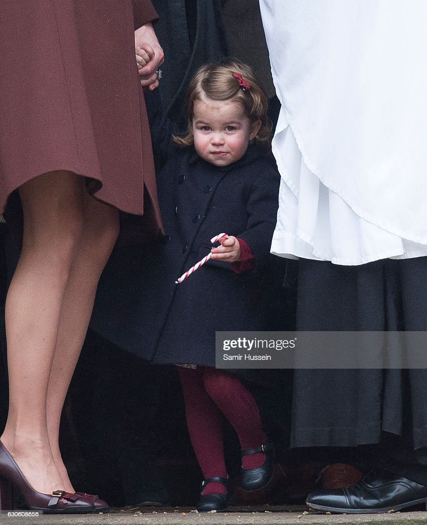 Princess Charlotte of Cambridge attends Church on Christmas Day on December 25, 2016 in Bucklebury, Berkshire.