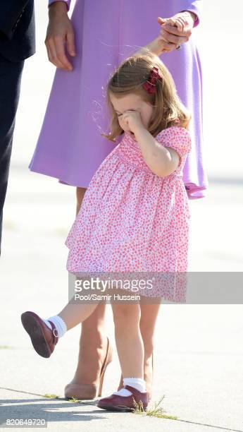 Princess Charlotte of Cambridge depart from Hamburg airport on the last day of their official visit to Poland and Germany on July 21 2017 in Hamburg...