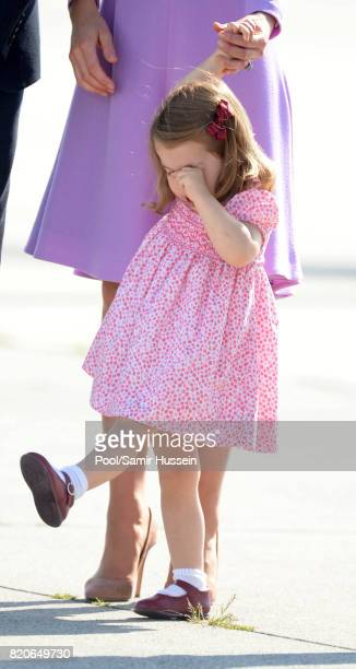 Princess Charlotte of Cambridge departs from Hamburg airport on the last day of their official visit to Poland and Germany on July 21 2017 in Hamburg...