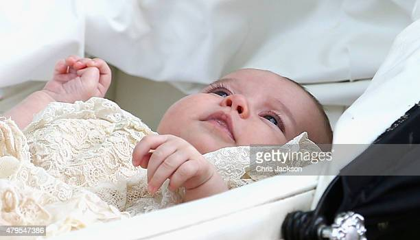 Princess Charlotte of Cambridge is pushed in her silver cross pram as she leaves the Church of St Mary Magdalene on the Sandringham Estate after her...